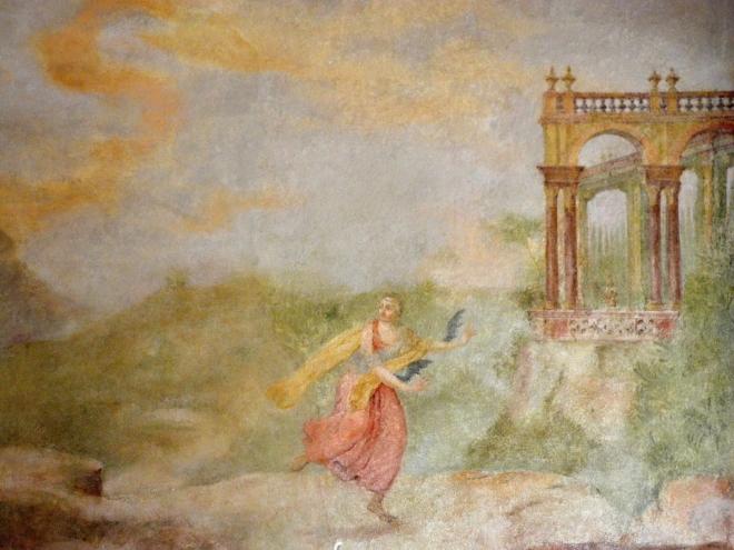 Freska znázorňující nešťastnou lásku.