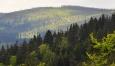 Slunce na chvíli osvětlí i vzdálený nejvyšší vrchol české Šumavy, Plechý.