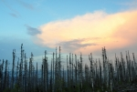 Rychle se začíná stmívat, jen vysoká oblaka ještě chvíli ozařuje za hřeben Trojmezné zapadlé slunce.