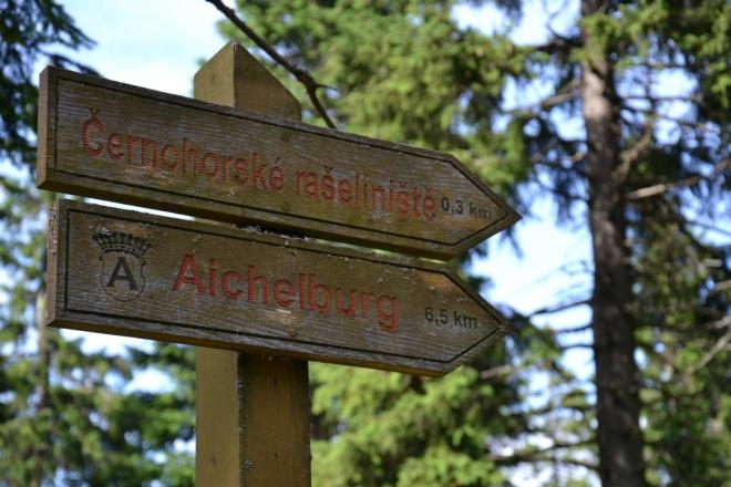 Ukazatele na Černohorském rašeliništi.
