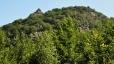Nad hejnickým kostelem se zvedá skalnatý výběžek Zahradní stěny a ojedinělý Ořešník, hlavní cíl dne. Toto je boční pohled od Velkého Štolpichu a tak není vidět vrcholový kříž.