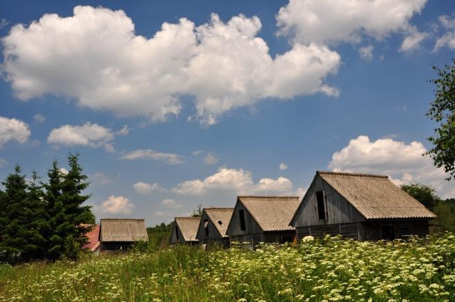 U výběhu je i několik domů a tyto, dnes se pomalu rozpadající, dřevěné chatky.