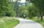 Cyklostezka na Novou Pec vede téměř pořád po rovině, a tak nám cesta rychle ubíhá.