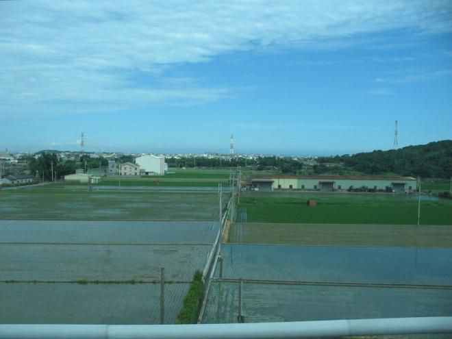 """Typickou scenerií jsou také rýžová pole a v nich """"utopené"""" domky."""