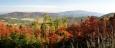 Cesta na Chlum nabízí daleké výhledy. Zde je Bulový, Albertob a Kleť (1 084 m n. m.).