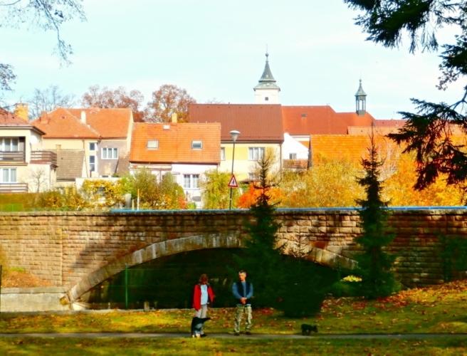 Pohled z parku na most a Sezimovo Ústí