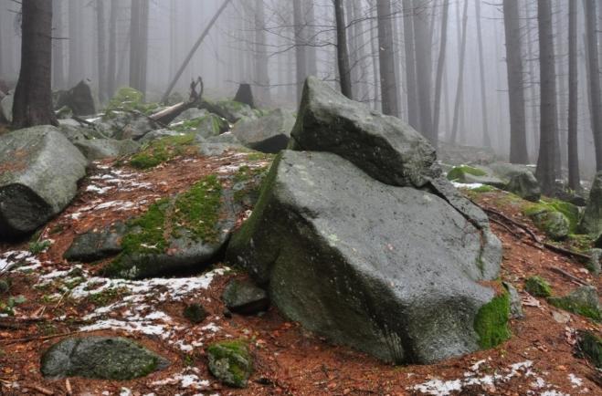 Na jednom místě se balvany vrší do malého kamenného moře.