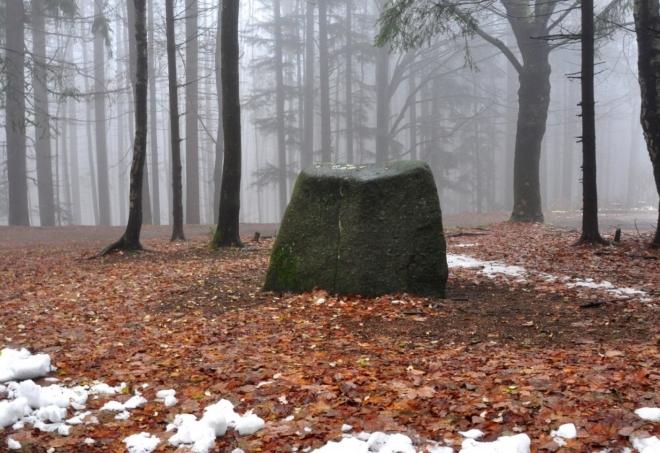 Tento kámen je možná také menhir. V létě láká tuláky ke krátkému posezení, ale ne dnes.