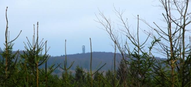 V dáli vidíme rozhlednu Vysoký Kamýk.