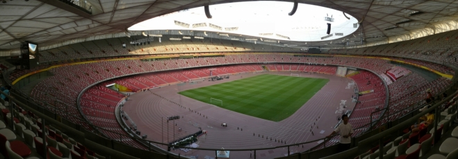 Panorama olympijského stadionu Bird's nest