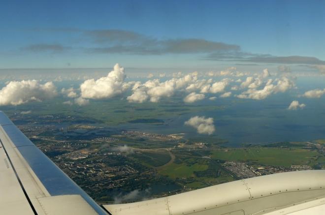 Pohled na Holandsko při vzletu