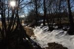 Na Veselku vede z Pravětína 1,5 km stoupání. Sněhu je zatím málo.
