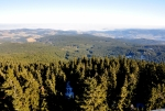 Zatímco z předhůří Šumavy mlhy postupně zmizely, na nejvyšší vrcholy hor je silný ledový vichr vyfoukal z dunajských nížin Německa.