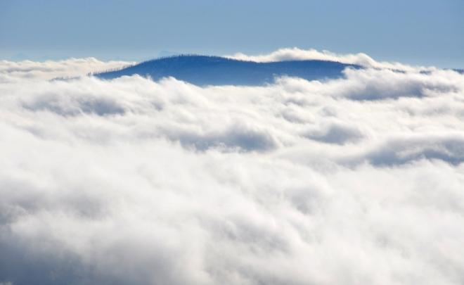 Ze Šumavy vystupuje nad rozvířenou mlhu jen nejvyšší český vrchol Plechého. Nepatrně je za ním vidět i alpský štít. Z vlastní zkušenosti, kdy jsem z rozhledny těsně před jejím otevřením viděl alpské vrcholky srovnané v řadě od východu až téměř na západ, musím potvrdit to, že je zde jedno z nejlepších míst pro pozorování Alp. Při ideální viditelnosti vás tak překvapí ohromující šíře záběru hor, kdy můžete pozorovat současně vápencové Alpy nedaleko Vídně i nejvyšší vrchol Německa Zugspitze.