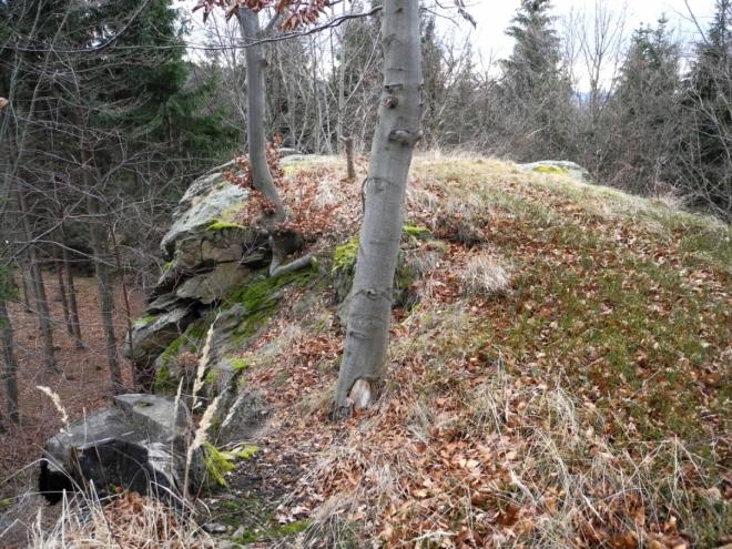 Na skále je místo jako stvořené pro staré Kelty, Germány, nebo Slovany. Pod skalkou se našla stříbrná žebra a tak zde v minulosti mohli skutečně lidé přebývat.