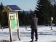 Před Knížecími Pláněmi si děláme zajížďku přes Bučinu. Stoupání je sice zdlouhavé, ale sníh i stopa jsou velmi dobré. Na fotce je možné vidět fotopoint.