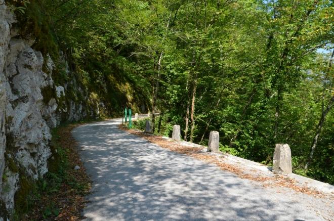 Dalších pár kilometrů jdeme docela svižně po takovéto silnici, pěkně ve stínu a po rovině.