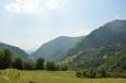 Výhled do údolí Tolminky od kostela Javorca, Triglavský národní park