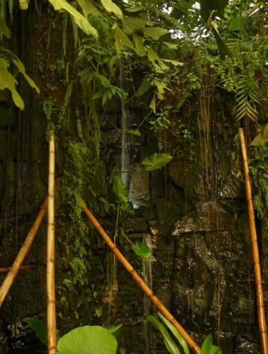 Skalka s vodopádem dokresluje atmosféru.