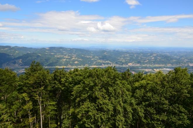 Výhled na sever k údolí Drávy, hned za těmi malebnými kopci už začíná Rakousko.