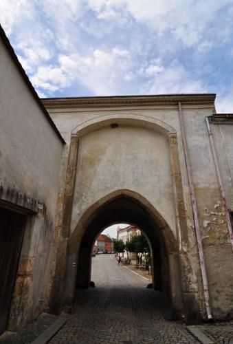 Vznik města Slavonice se datuje kolem 12.století. Nejstarší písemná zpráva pochází z roku 1260, kdy se jednalo o osadu, později trhovou ves, která patřila pánům z Hradce. Ves se pomalu rozvíjela v opevněné město, jehož dochovaným dokladem je i tato vstupní brána.
