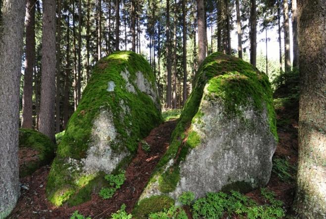 Před vrcholkem Skalky nás vítá několik zajímavých kamenů.