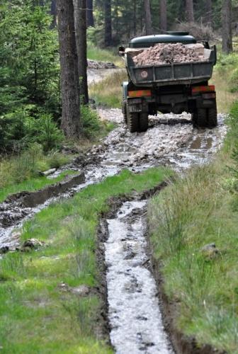 Mokřady pod PR Vlček neunesou těžkou těžební techniku a to se musí změni! Proto jdeme chvilku lesem a chvilku po haldách navezeného kamení.