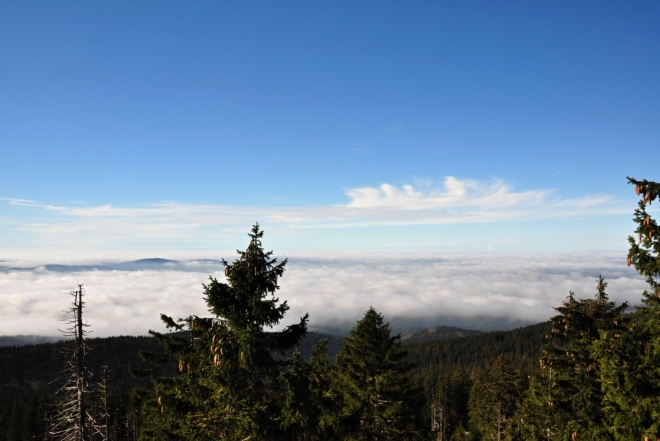 Bavorsko před modrou oblohou překrývá hustá mlha.