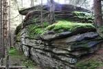 Vrchol Perníku je skryt ve smrkovém lese.