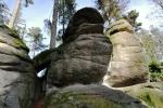 Na Medvědí stezce jsou nejpřitažlivější kamenné útvary, z nichž je jich mnoho pojmenováno.