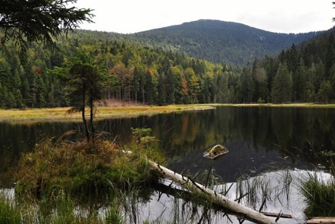 V pozadí jezera Velký Javor.