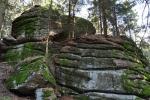 Kolem vrcholu je několik skalních bloků rozrušených skal, které místo oživují.