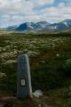 Kámen označující hranici národního parku Rondane, Norsko