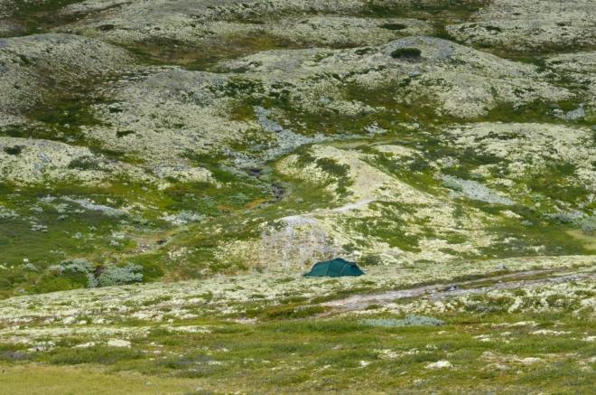 Další dobře schované obydlí. Mimochodem, věděli jste, že v národních parcích a volné přírodě obecně se v Norsku smí stanovat kdekoliv, pokud dodržíte vzdálenost 150 m od nejbližších obytných budov?