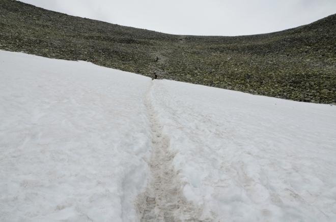 Na konci sněhového pole vytahujeme teplejší oblečení, ochlazuje se dost rychle.