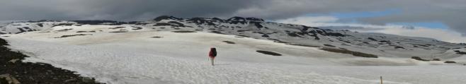 Dlouhá cesta po sněhu.