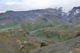 Údolí Krossá tekoucí ze splazu Mýrdalsjökullu.