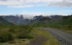 Pohled z údolí na Mýrdalsjökull