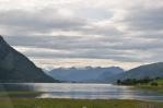 Pohled od špičky Isfjordenu k Åndalsnes, Norsko