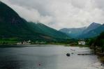 Výhled na vesnici Myklebostad, Norsko