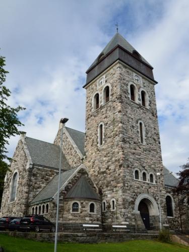 Původní kostel zde stál od roku 1855, při velkém požáru však byl značně poničen, a tak zde od roku 1909 stojí tento nový.