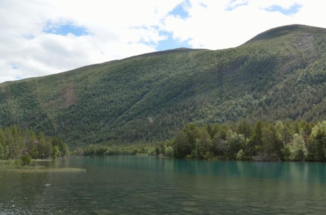 Hlad jsme ukojili, pokračujeme dále. Následující desítky kilometrů jsou ve znamení návratu zpět do lesnaté krajiny a civilizace, silnice mírně klesá údolím okolo několika dalších jezer a divokých říček.