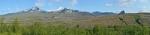 Ranní výhled kus od nocležiště na sopku Tindfjallajökull a stejnojmenný ledovec.