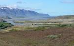 Severní svahy Eyjafjallajökull a řečiště ohromné řeky Markarfljót.