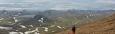 Panorama, pravá část. Vzadu Tindfjallajökull a dál, vlevo od něj Eyjafjallajökull