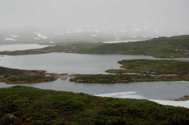 Množství jezírek nás nepřestává udivovat. Protože je ovšem počasí čím dál méně snesitelné, někde v těchto místech se otáčíme. V pozadí zřejmě okraj většího jezera Vivassvatnet.