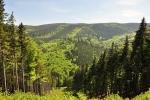 Lesy se na chvilku rozestoupily, aby odhalily pohled do údolí Stříbrného potoka.