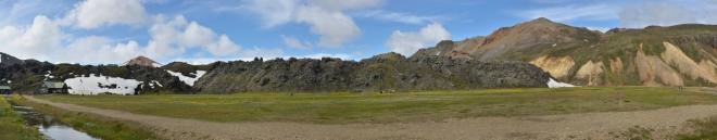 Panorama okraje lávového pole Laugahraun z 15. století.