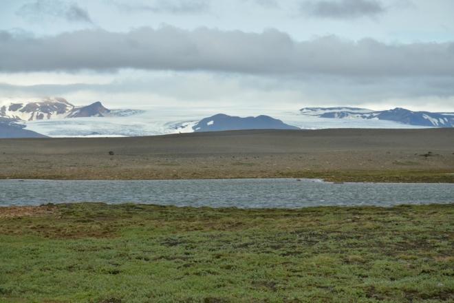 Hofsjökull a výjimečný kus zeleně v údolíčku u jezera