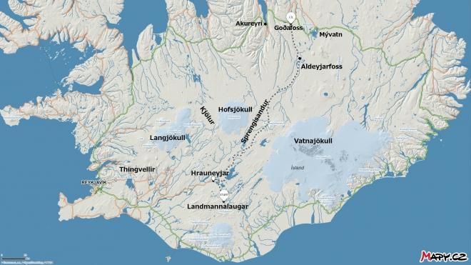 Mapa s šedě vyznačenou cestou autobusem z jihu na sever a důležitými místy, o nichž se mluví níže